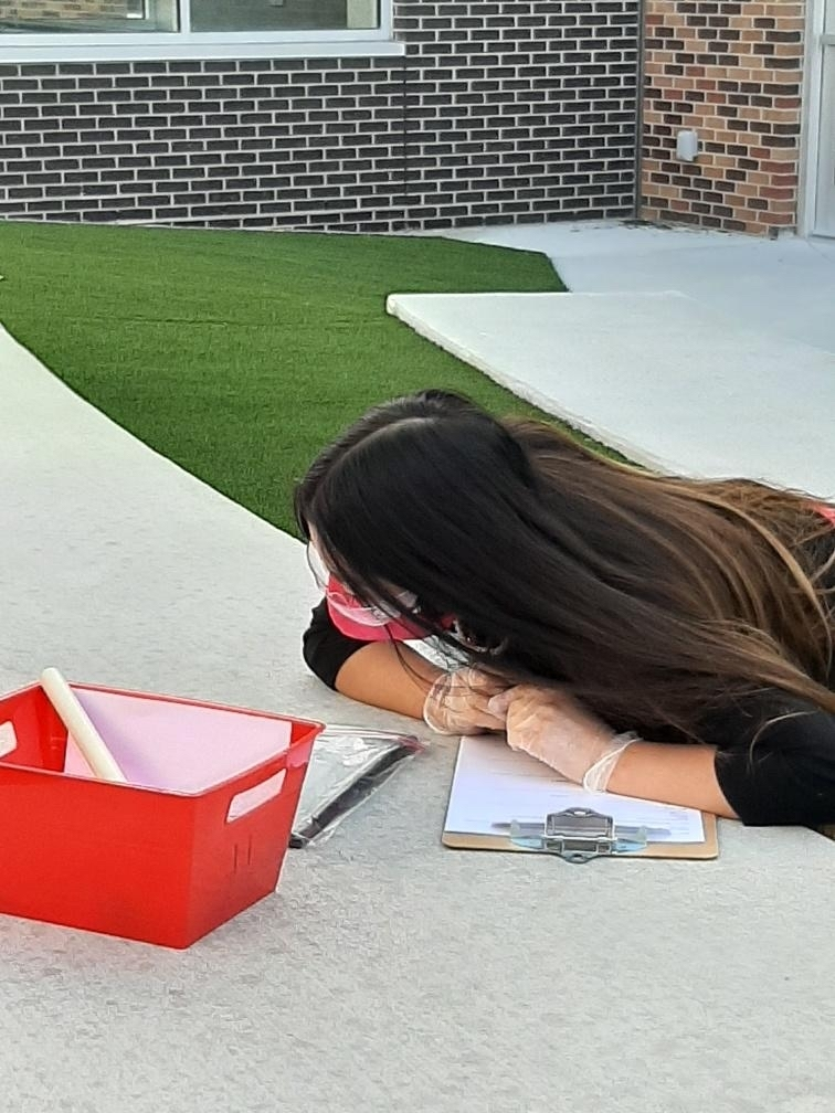 Student laying on ground working on a project