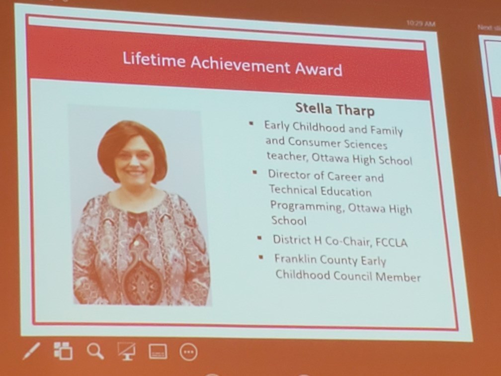 Stella Tharp's Lifetime Achievement Award recognition slide