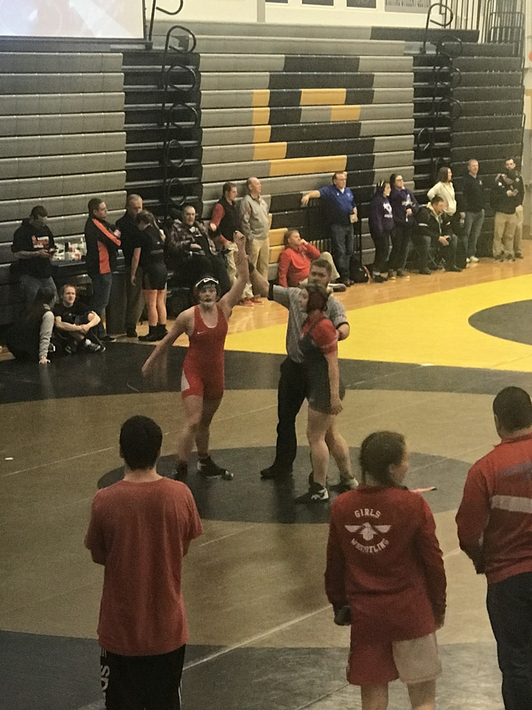 A girl hands raised after winning a wrestling match