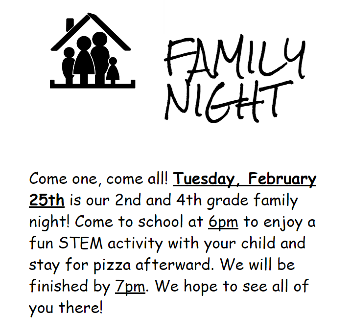 2nd and 4th Grade Family Night
