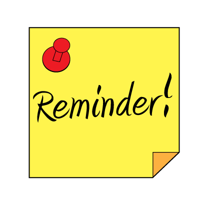 Sticky note with a pin saying, Reminder!