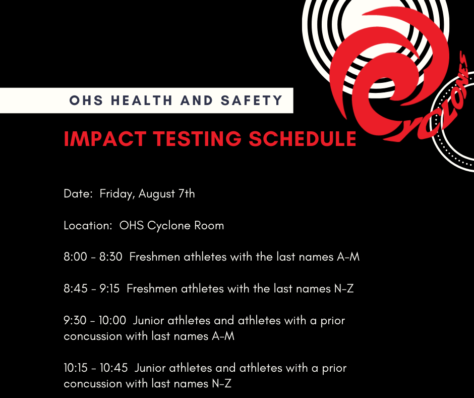 OHS Impact Testing Schedule