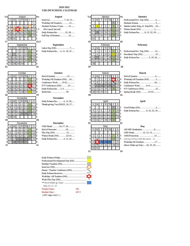 2020-2021 USD 290 District Calendar